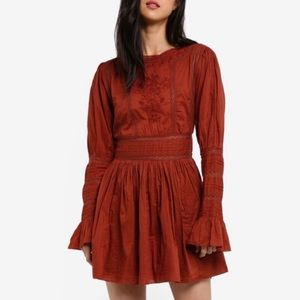 Free People Victorian embroidered mini dress